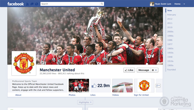 Creative Facebook Timeline Brand Cover by Manchester United